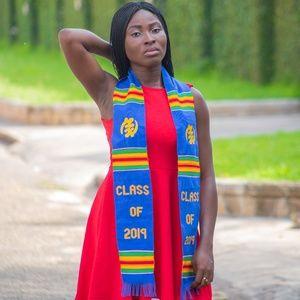 Blue African Kente Graduation Stole: Gye Nyame